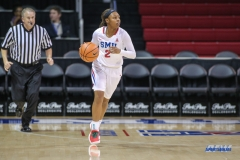 UNIVERSITY PARK, TX - DECEMBER 22: Southern Methodist Mustangs guard Ariana Whitfield (2) brings the ball up court during the women's game between SMU and McNeese State on December 22, 2017, at Moody Coliseum in Dallas, TX. (Photo by George Walker/Icon Sportswire)