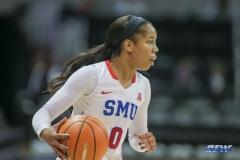 UNIVERSITY PARK, TX - DECEMBER 22: Southern Methodist Mustangs guard Kiara Perry (0) brings the ball up court during the women's game between SMU and McNeese State on December 22, 2017, at Moody Coliseum in Dallas, TX. (Photo by George Walker/Icon Sportswire)