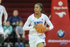 UNIVERSITY PARK, TX - DECEMBER 22: Southern Methodist Mustangs guard Kiara Perry (0) looks to pass during the women's game between SMU and McNeese State on December 22, 2017, at Moody Coliseum in Dallas, TX. (Photo by George Walker/Icon Sportswire)