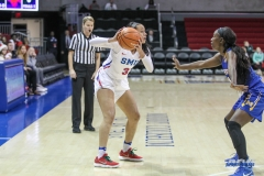 UNIVERSITY PARK, TX - DECEMBER 22: Southern Methodist Mustangs guard McKenzie Adams (3) looks to pass the ball during the women's game between SMU and McNeese State on December 22, 2017, at Moody Coliseum in Dallas, TX. (Photo by George Walker/Icon Sportswire)