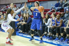 UNIVERSITY PARK, TX - DECEMBER 22: McNeese State Cowgirls guard Regan Bolton (1) looks to pass the ball during the women's game between SMU and McNeese State on December 22, 2017, at Moody Coliseum in Dallas, TX. (Photo by George Walker/Icon Sportswire)