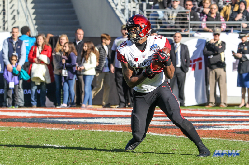FORT WORTH, TX - DECEMBER 23: San Diego State Aztecs running back Rashaad Penny (20) returns the opening kick-off during the Armed Forces Bowl game between San Diego State and Army on December 23, 2017, at Amon G. Carter Stadium in Fort Worth, TX. (Photo by George Walker/DFWsportsonline)