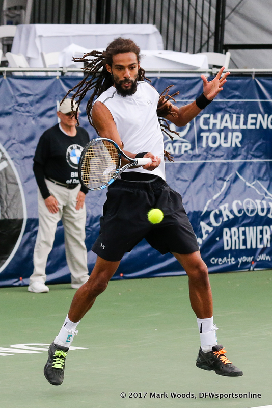 Dustin Brown (GER) in his quarterfinal singles match match at the Irving Tennis Classic in Irving, TX