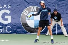 Mikhail Kukushkin (KAZ) in his quarterfinal singles match at Irving Tennis Classic in Irving, TX.