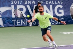 Tim Smyczek (USA) in his quarterfinal singles match match at the Irving Tennis Classic in Irving, TX