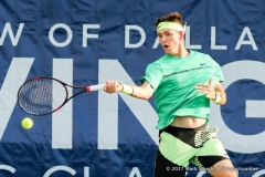 Jared Donaldson (USA) in his quarterfinal singles match match at the Irving Tennis Classic in Irving, TX
