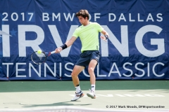 Aljaz Bedene (GBR) in his semifinal singles match match at the Irving Tennis Classic in Irving, TX