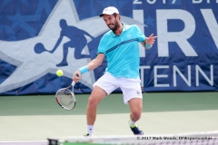 Mikhail Kukushkin (KAZ) in his semifinal singles match at Irving Tennis Classic in Irving, TX.