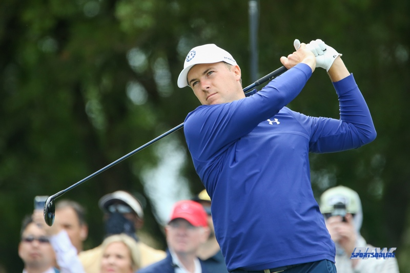 MCKINNEY, TX - MAY 14: Jordan Spieth hits from the 5th tee during the second round of the AT&T Byron Nelson on May 14, 2021 at TPC Craig Ranch in McKinney, TX. (Photo by George Walker/Icon Sportswire)