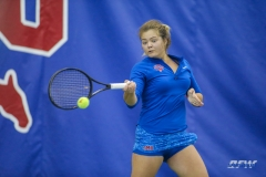 DALLAS, TX - JANUARY 13: Anzhelika Shapovalova hits a forehand during the SMU women's tennis Metroplex Mania tournament on January 13, 2018, at the SMU Tennis Complex, Turpin Stadium & Brookshire Family Pavilion in Dallas, TX. (Photo by George Walker/DFWsportsonline)