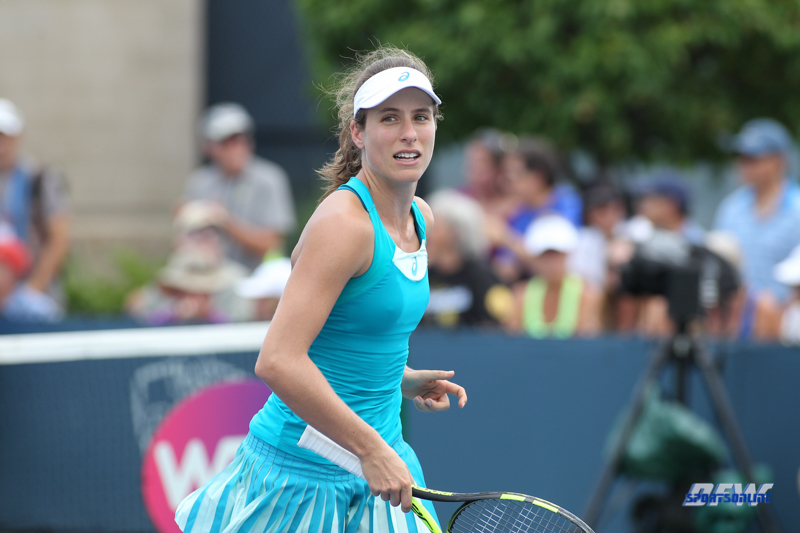 CINCINNATI, OH - AUGUST 14: Johanna Konta (GBR) reacts after a point during the Western & Southern Open at the Lindner Family Tennis Center in Mason, Ohio on August 14, 2017. (Photo by George Walker/Icon Sportswire)