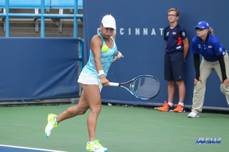 CINCINNATI, OH - Yulia Putintseva (KAZ) during the Western & Southern Open at the Lindner Family Tennis Center in Mason, Ohio on August 16, 2017, (Photo by George Walker/DFWsportsonline