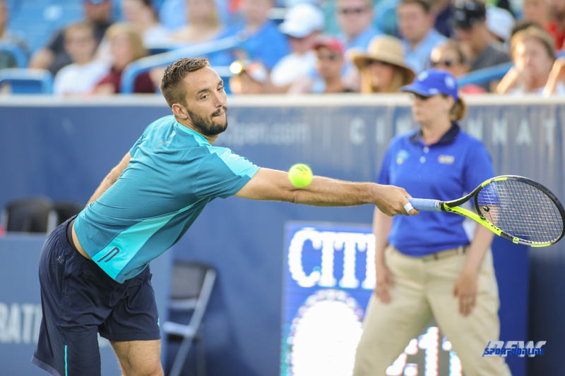 CINCINNATI, OH - Viktor Troicki (SRB) stretches for a backhand during the Western & Southern Open at the Lindner Family Tennis Center in Mason, Ohio on August 13, 2017, (Photo by George Walker/DFWsportsonline