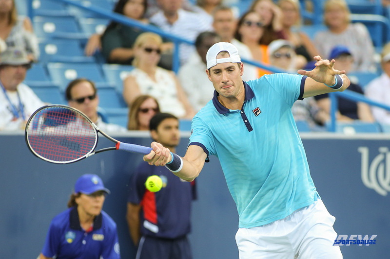 CINCINNATI, OH - John Isner (USA) hits a forehand during the Western & Southern Open at the Lindner Family Tennis Center in Mason, Ohio on August 13, 2017, (Photo by George Walker/DFWsportsonline