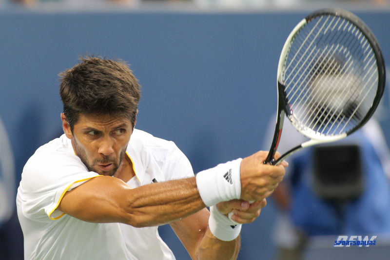 CINCINNATI, OH - AUGUST 14: Fernando Verdasco (ESP) hits a backhand during the Western & Southern Open at the Lindner Family Tennis Center in Mason, Ohio on August 14, 2017. (Photo by George Walker/Icon Sportswire)