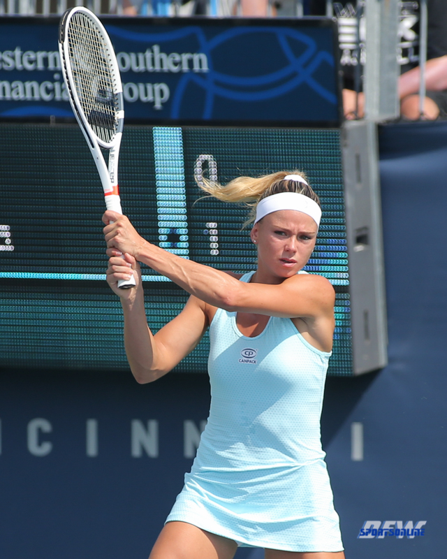 CINCINNATI, OH - Camila Giorgi (ITA) during the Western & Southern Open at the Lindner Family Tennis Center in Mason, Ohio on August 16, 2017, (Photo by George Walker/DFWsportsonline