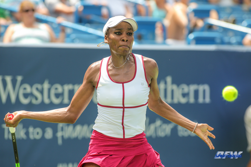 CINCINNATI, OH - Venus Williams (USA) during the Western & Southern Open at the Lindner Family Tennis Center in Mason, Ohio on August 16, 2017, (Photo by George Walker/DFWsportsonline