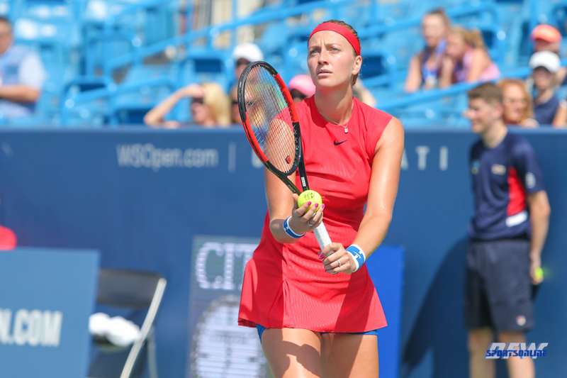 CINCINNATI, OH - AUGUST 14: Petra Kvitova (CZE) prepares to serve during the Western & Southern Open at the Lindner Family Tennis Center in Mason, Ohio on August 14, 2017. (Photo by George Walker/Icon Sportswire)