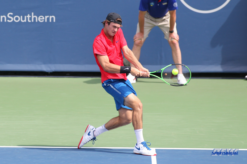 CINCINNATI, OH - AUGUST 14: Tommy Paul (USA) hits a backhand during the Western & Southern Open at the Lindner Family Tennis Center in Mason, Ohio on August 14, 2017. (Photo by George Walker/Icon Sportswire)