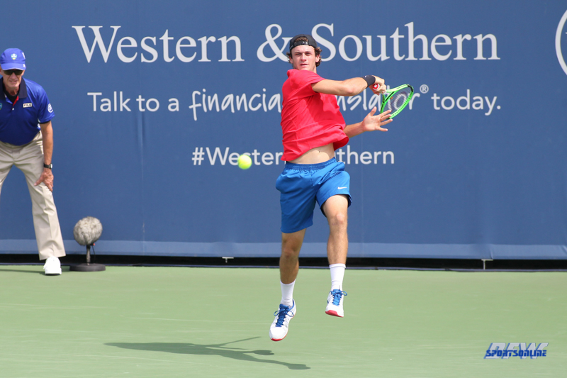 CINCINNATI, OH - AUGUST 14: Tommy Paul (USA) hits a forehand during the Western & Southern Open at the Lindner Family Tennis Center in Mason, Ohio on August 14, 2017. (Photo by George Walker/Icon Sportswire)