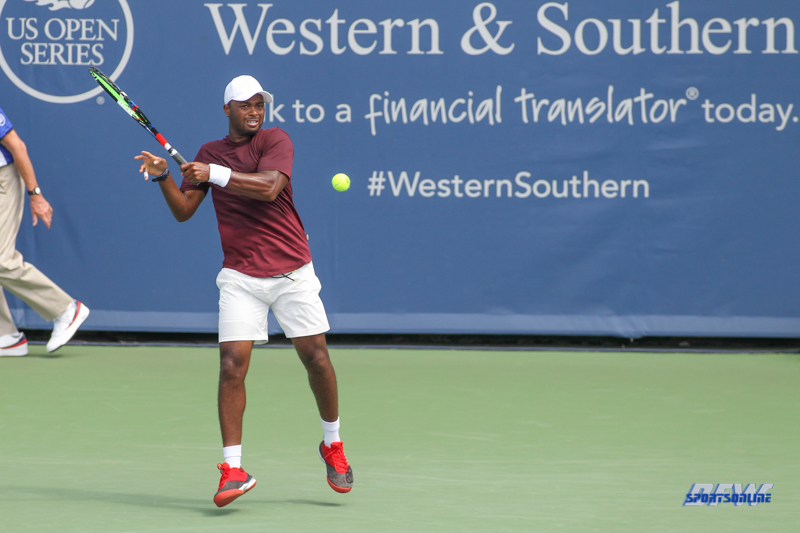 CINCINNATI, OH - AUGUST 14: Donald Young (USA) hits a forehand during the Western & Southern Open at the Lindner Family Tennis Center in Mason, Ohio on August 14, 2017. (Photo by George Walker/Icon Sportswire)