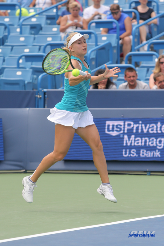 CINCINNATI, OH - AUGUST 14: Daria Gavrilova (AUS) hits a forehand during the Western & Southern Open at the Lindner Family Tennis Center in Mason, Ohio on August 14, 2017. (Photo by George Walker/Icon Sportswire)