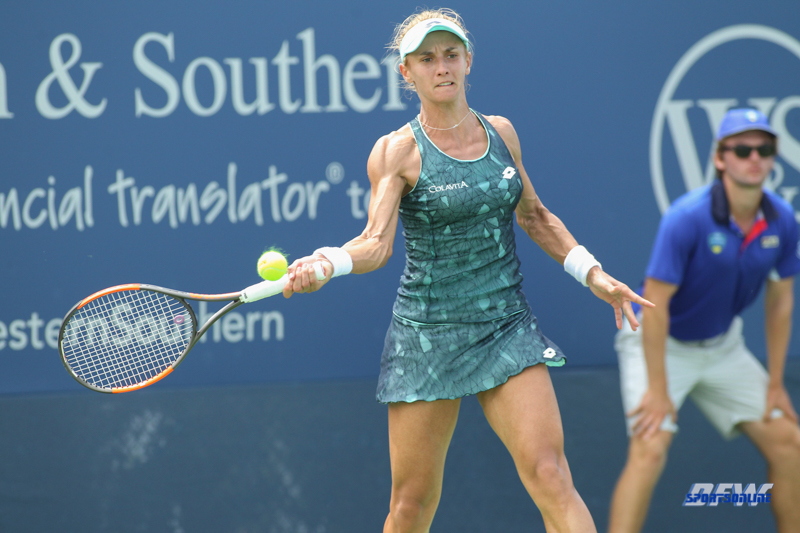 CINCINNATI, OH - AUGUST 14: Lesia Tsurenko (UKR) hits a forehand during the Western & Southern Open at the Lindner Family Tennis Center in Mason, Ohio on August 14, 2017. (Photo by George Walker/Icon Sportswire)