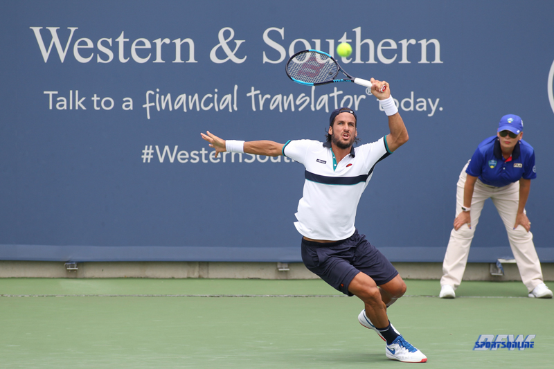 CINCINNATI, OH - AUGUST 14: Feliciano Lopez (ESP) hits a forehand during the Western & Southern Open at the Lindner Family Tennis Center in Mason, Ohio on August 14, 2017. (Photo by George Walker/Icon Sportswire)