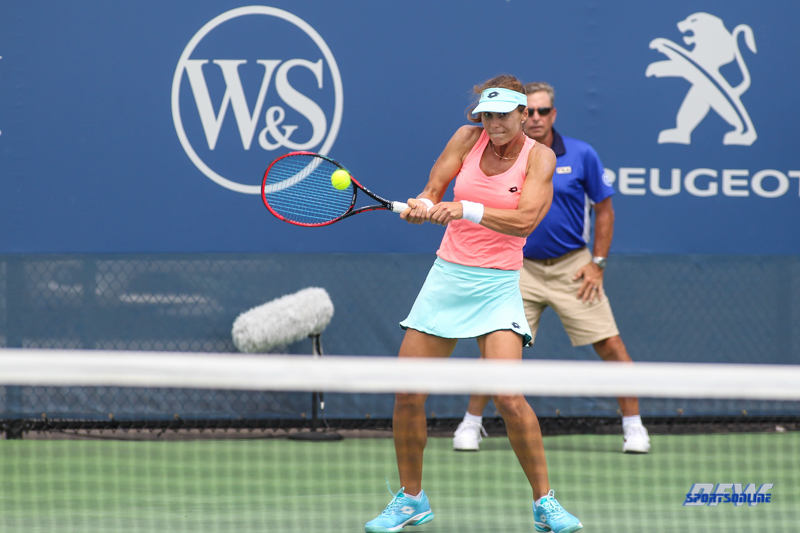 CINCINNATI, OH - AUGUST 14: Varvara Lepchenko (USA) hits a backhand during the Western & Southern Open at the Lindner Family Tennis Center in Mason, Ohio on August 14, 2017. (Photo by George Walker/Icon Sportswire)