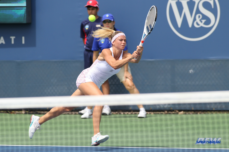 CINCINNATI, OH - AUGUST 14: Camila Giorgi (ITA) runs for a backhand during the Western & Southern Open at the Lindner Family Tennis Center in Mason, Ohio on August 14, 2017. (Photo by George Walker/Icon Sportswire)