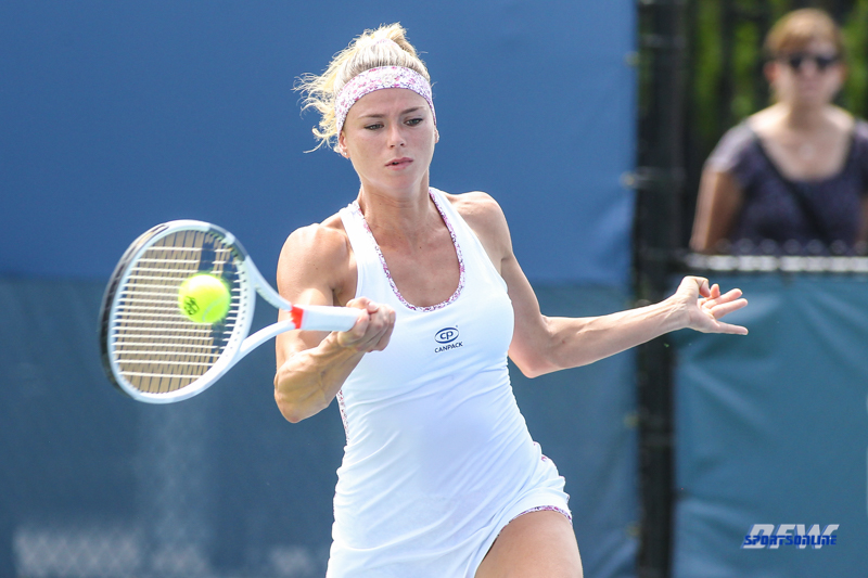 CINCINNATI, OH - AUGUST 14: Camila Giorgi (ITA) hits a forehand during the Western & Southern Open at the Lindner Family Tennis Center in Mason, Ohio on August 14, 2017. (Photo by George Walker/Icon Sportswire)