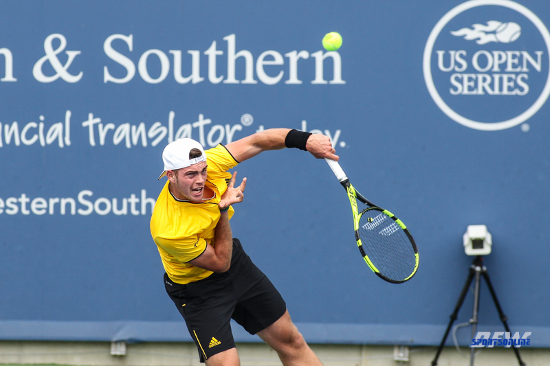 CINCINNATI, OH - AUGUST 14: Maximilian Marterer (GER) serves during the Western & Southern Open at the Lindner Family Tennis Center in Mason, Ohio on August 14, 2017. (Photo by George Walker/Icon Sportswire)
