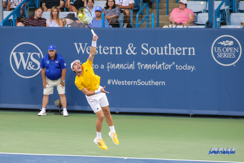 CINCINNATI, OH - AUGUST 14: Mischa Zverev (GER) serves during the Western & Southern Open at the Lindner Family Tennis Center in Mason, Ohio on August 14, 2017. (Photo by George Walker/Icon Sportswire)