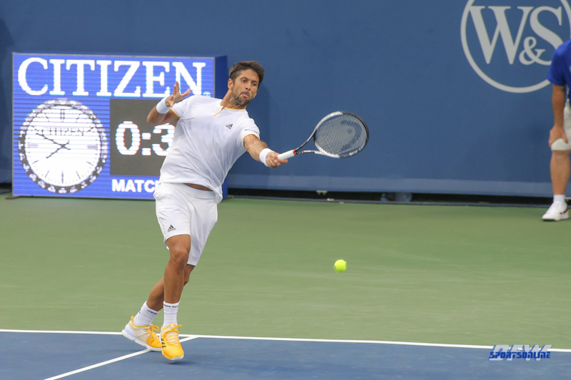 CINCINNATI, OH - AUGUST 14: Fernando Verdasco (ESP) hits a forehand during the Western & Southern Open at the Lindner Family Tennis Center in Mason, Ohio on August 14, 2017. (Photo by George Walker/Icon Sportswire)