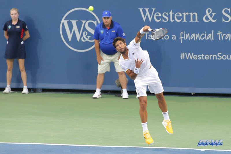 CINCINNATI, OH - AUGUST 14: Fernando Verdasco (ESP) serves during the Western & Southern Open at the Lindner Family Tennis Center in Mason, Ohio on August 14, 2017. (Photo by George Walker/Icon Sportswire)