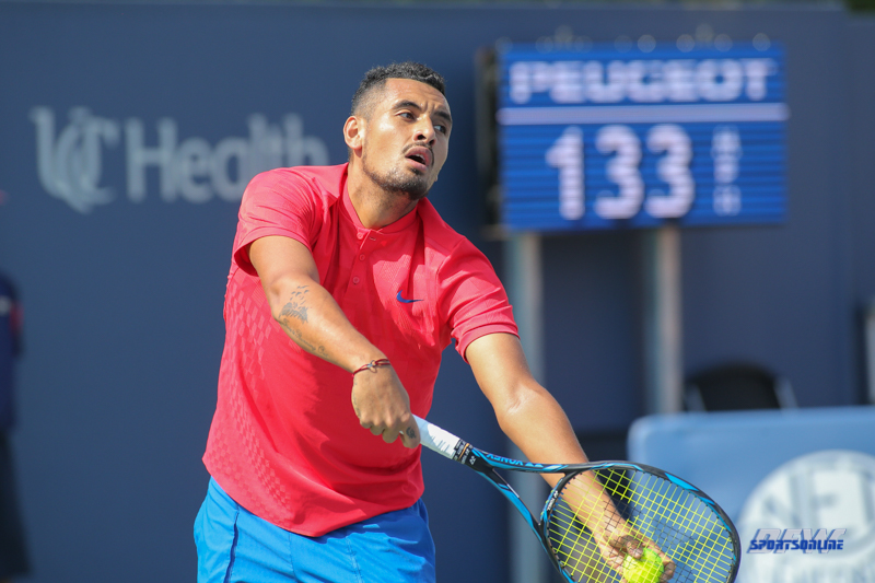 CINCINNATI, OH - AUGUST 15: Nick Kyrgios (AUS) prepares to serve during the Western & Southern Open at the Lindner Family Tennis Center in Mason, Ohio on August 14, 2017. (Photo by George Walker/Icon Sportswire)