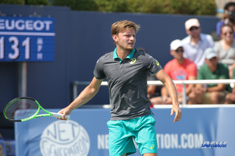CINCINNATI, OH - AUGUST 15: David Goffin (BEL) prepares to return serve during the Western & Southern Open at the Lindner Family Tennis Center in Mason, Ohio on August 14, 2017. (Photo by George Walker/Icon Sportswire)