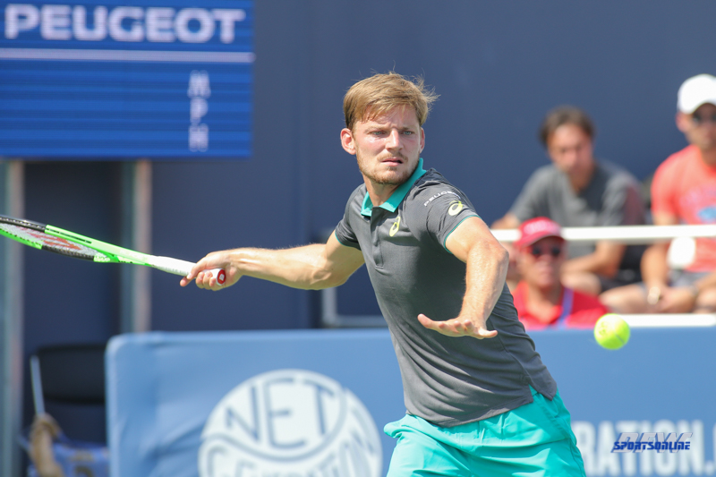 CINCINNATI, OH - AUGUST 15: David Goffin (BEL) hits a forehand during the Western & Southern Open at the Lindner Family Tennis Center in Mason, Ohio on August 14, 2017. (Photo by George Walker/Icon Sportswire)