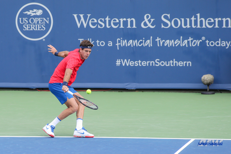 CINCINNATI, OH - AUGUST 15: Juan Martin Del Potro (ARG) hits a backhand during the Western & Southern Open at the Lindner Family Tennis Center in Mason, Ohio on August 14, 2017. (Photo by George Walker/Icon Sportswire)