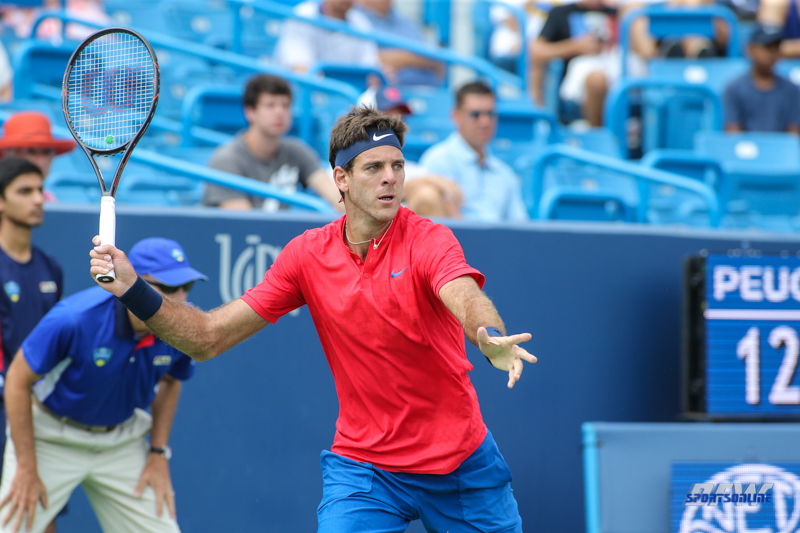 CINCINNATI, OH - AUGUST 15: Juan Martin Del Potro (ARG) hits a forehand during the Western & Southern Open at the Lindner Family Tennis Center in Mason, Ohio on August 14, 2017. (Photo by George Walker/Icon Sportswire)
