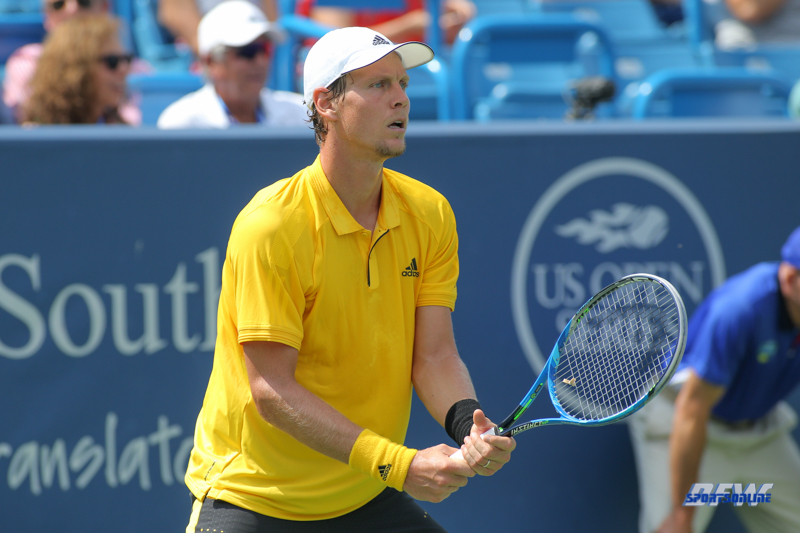 CINCINNATI, OH - AUGUST 15: Tomas Berdych (CZE) prepares to return serve during the Western & Southern Open at the Lindner Family Tennis Center in Mason, Ohio on August 14, 2017. (Photo by George Walker/Icon Sportswire)