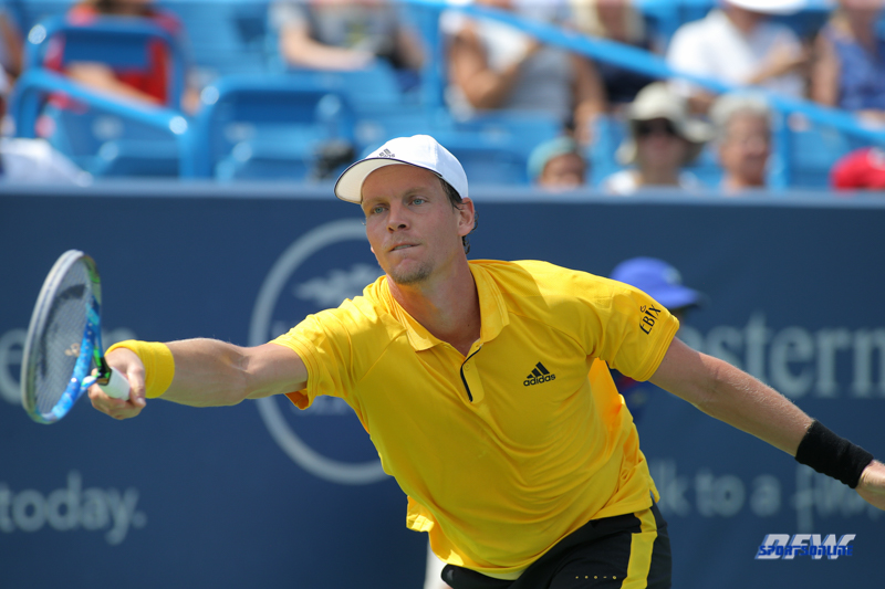 CINCINNATI, OH - AUGUST 15: Tomas Berdych (CZE) stretches for a ball during the Western & Southern Open at the Lindner Family Tennis Center in Mason, Ohio on August 14, 2017. (Photo by George Walker/Icon Sportswire)