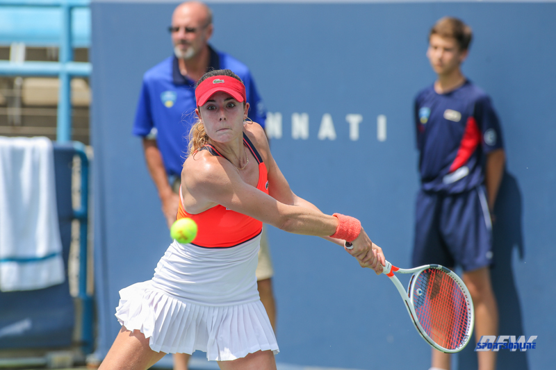 CINCINNATI, OH - AUGUST 15: Alize' Cornet (FRA) hits a backhand during the Western & Southern Open at the Lindner Family Tennis Center in Mason, Ohio on August 15, 2017. (Photo by George Walker/Icon Sportswire)