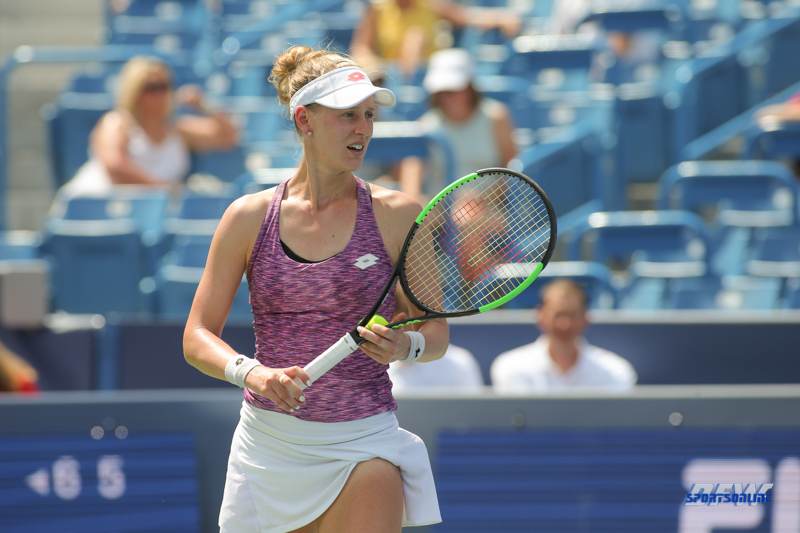 CINCINNATI, OH - AUGUST 15: Alison Riske (USA) prepares to serve during the Western & Southern Open at the Lindner Family Tennis Center in Mason, Ohio on August 15, 2017. (Photo by George Walker/Icon Sportswire)