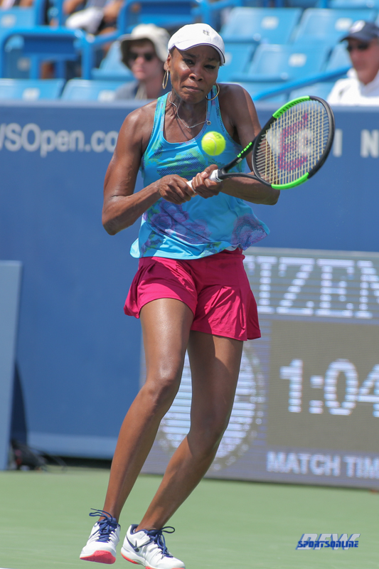 CINCINNATI, OH - AUGUST 15: Venus Williams (USA) hits a backhand during the Western & Southern Open at the Lindner Family Tennis Center in Mason, Ohio on August 15, 2017. (Photo by George Walker/Icon Sportswire)