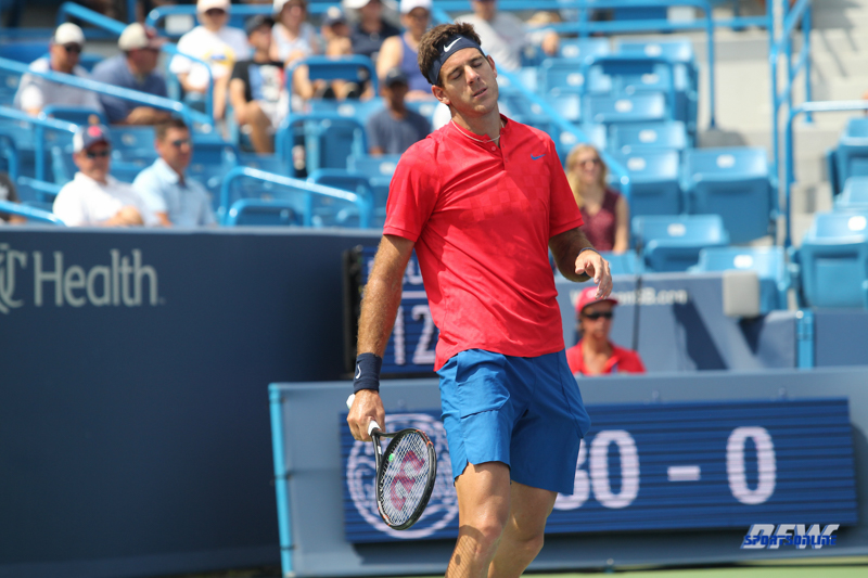 CINCINNATI, OH - AUGUST 15: Juan Martin Del Potro reacts to a point during the Western & Southern Open at the Lindner Family Tennis Center in Mason, Ohio on August 15, 2017. (Photo by George Walker/Icon Sportswire)