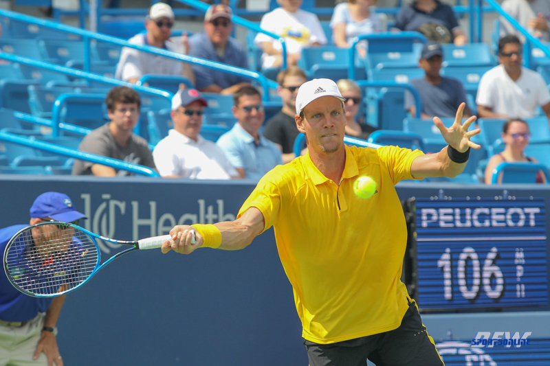 CINCINNATI, OH - AUGUST 15: Tomas Berdych (CZE) reaches for a forehand during the Western & Southern Open at the Lindner Family Tennis Center in Mason, Ohio on August 15, 2017. (Photo by George Walker/Icon Sportswire)