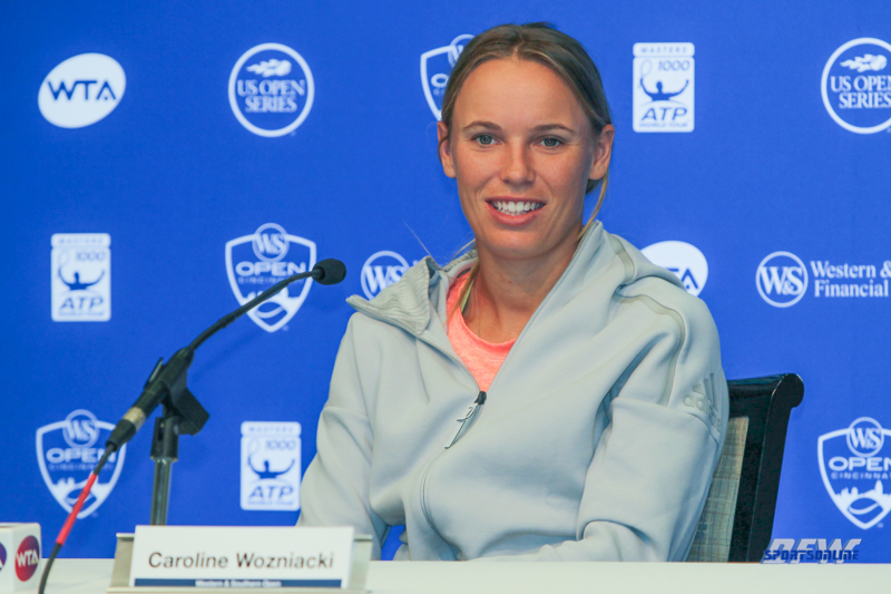 CINCINNATI, OH - AUGUST 15: Caroline Wozniacki holds a press conference during the Western & Southern Open at the Lindner Family Tennis Center in Mason, Ohio on August 15, 2017. (Photo by George Walker/Icon Sportswire)
