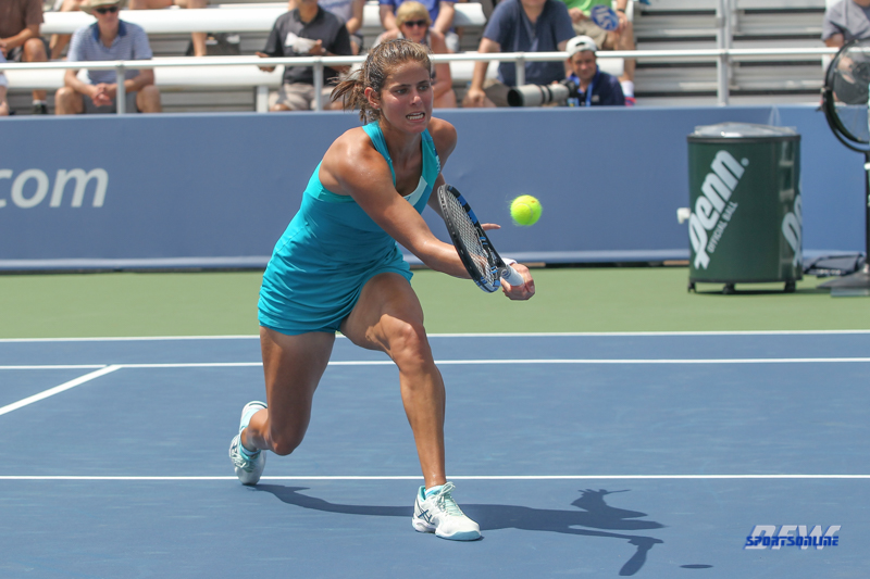 CINCINNATI, OH - AUGUST 15: Julia Goerges (GER) hits a forehand during the Western & Southern Open at the Lindner Family Tennis Center in Mason, Ohio on August 15, 2017. (Photo by George Walker/Icon Sportswire)