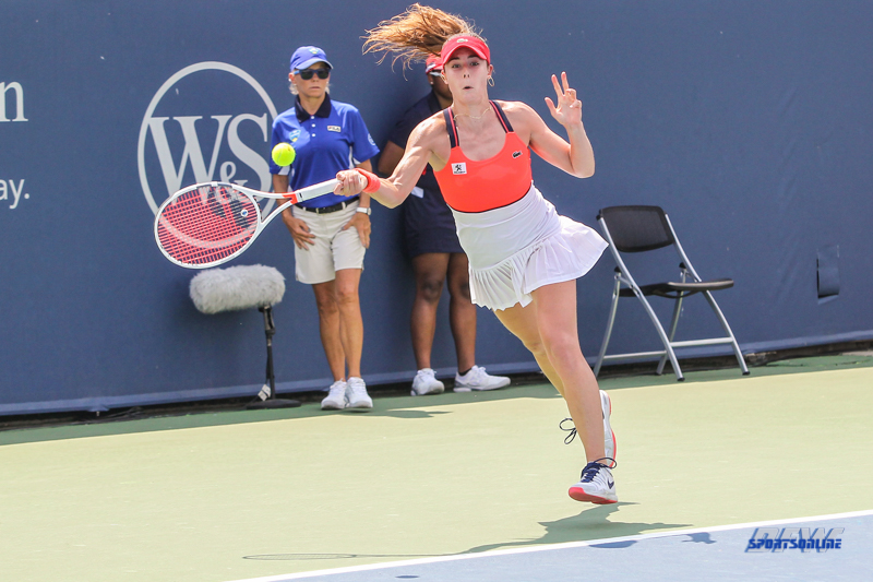 CINCINNATI, OH - AUGUST 15: Alize' Cornet (FRA) hits a forehand during the Western & Southern Open at the Lindner Family Tennis Center in Mason, Ohio on August 15, 2017. (Photo by George Walker/Icon Sportswire)